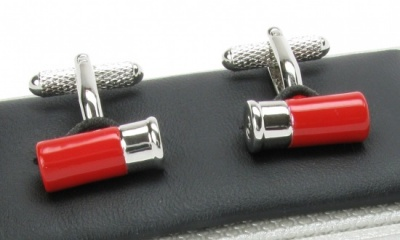 Red Shotgun Cartridge Cufflinks